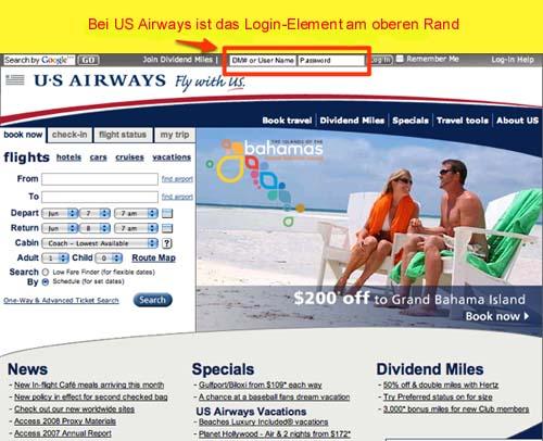 Die USAirways-Homepage