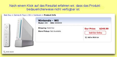 Die Wii-Detailseite von Best Buy