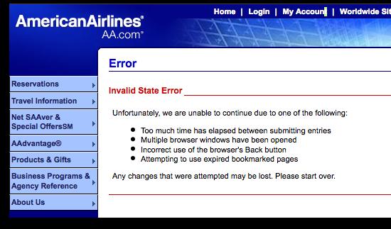 Fehlermeldung auf der Website von American Airlines