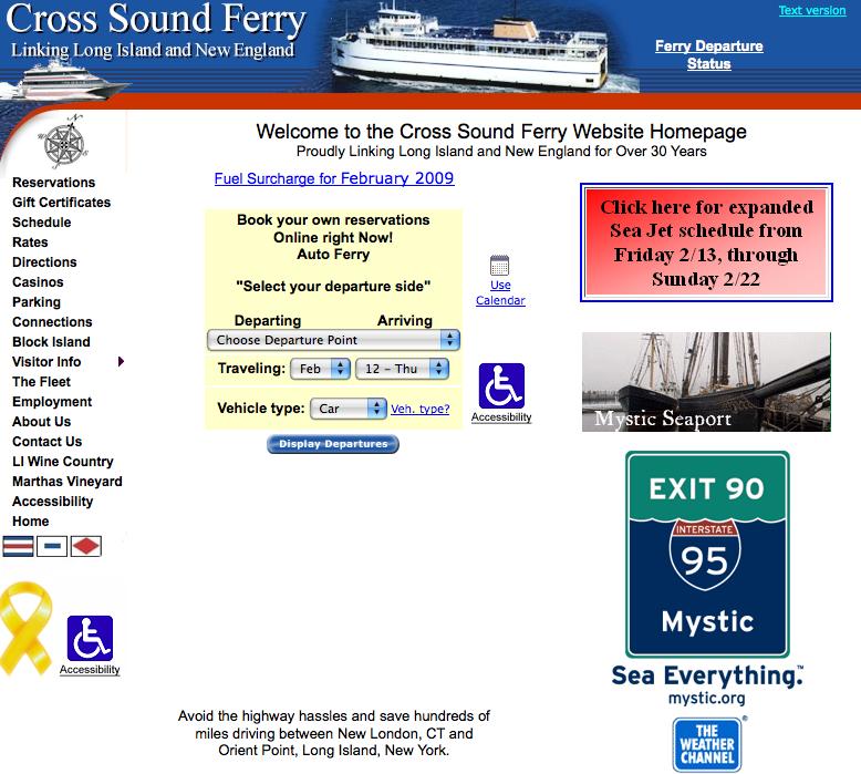 Die Website der Long Island Ferry