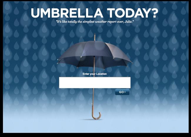 Umbrellatoday.com: Die Startseite