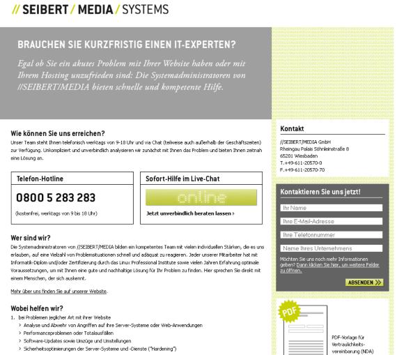 Die Landing-Page für Hosting-Notfalldienstleistungen