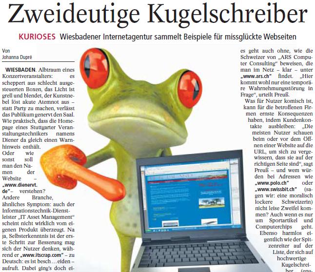 Ausriss aus dem Artikel im Wiesbadener Kurier