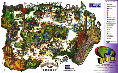 six flags magic mountain park map. six flags magic mountain park