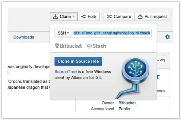 Git-Desktop-Client SourceTree von Atlassian gibt es auch für