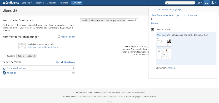 Microblogging for Confluence Screen 2