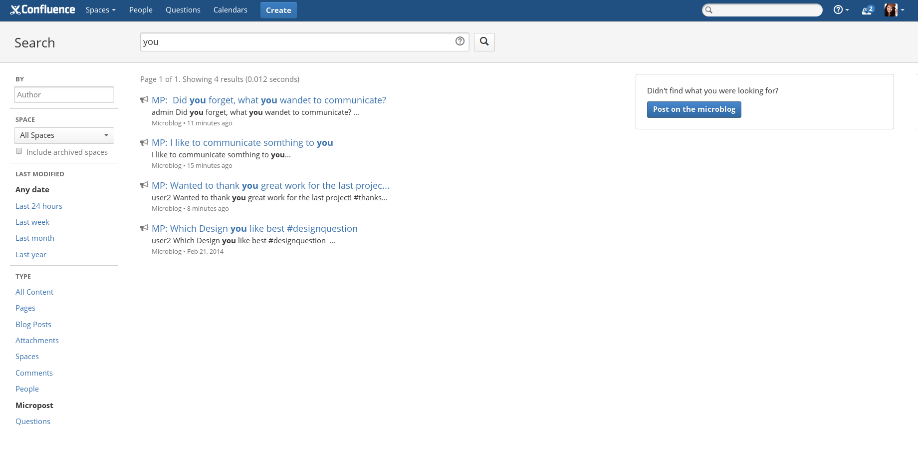 Microblogging for Confluence Screen 3