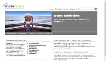 Die Website der metafinanz GmbH wurde von //SEIBERT/MEDIA mit TYPO3 realisiert