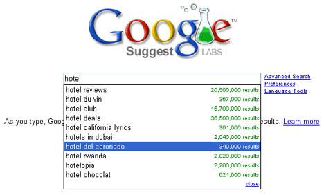 Google-Liste mit Begriffsvorschlägen