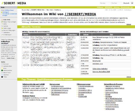 TWiki im Intranet von //SEIBERT/MEDIA