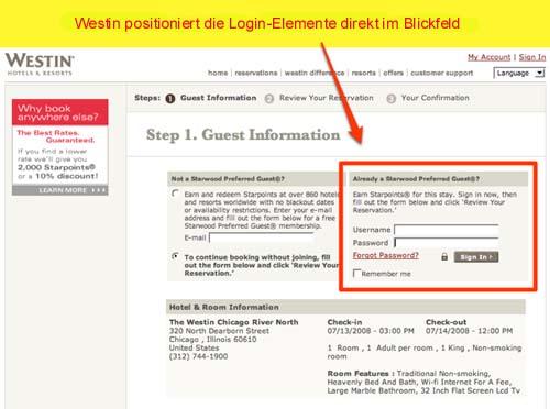 Die Login-Elemente auf Westin.com