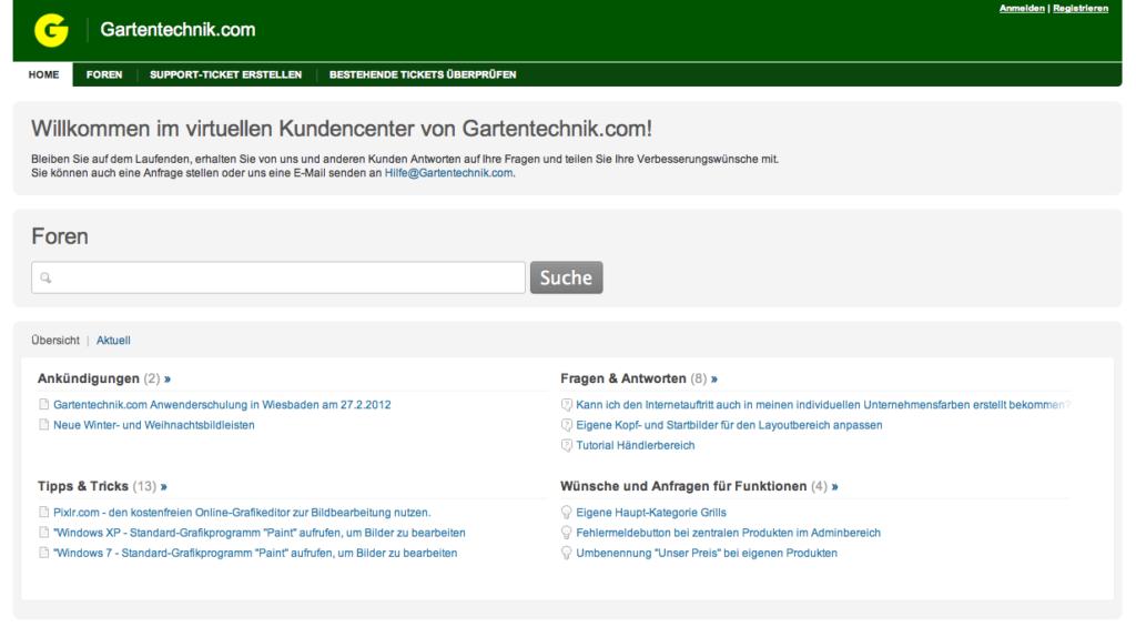 Das virtuelle Kundencenter von Gartentechnik.com