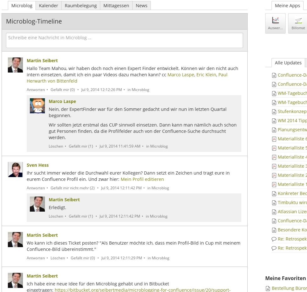 Microblog auf dem Confluence-Dashboard