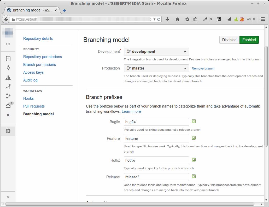Stash Branching model