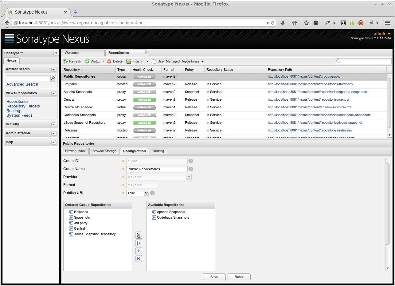 Dem Gruppen-Repository wird das neue Proxy-Repository hinzugefügt