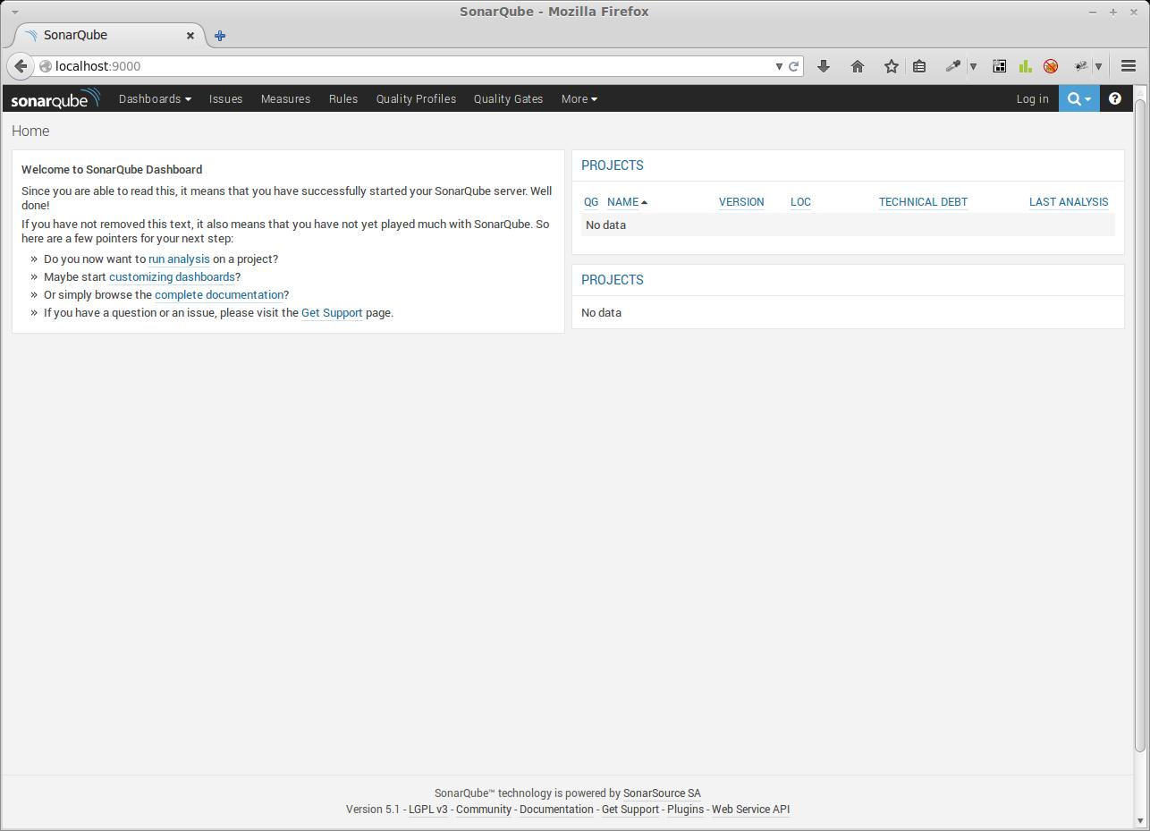 Sonarqube Weboberfläche nach der Installation