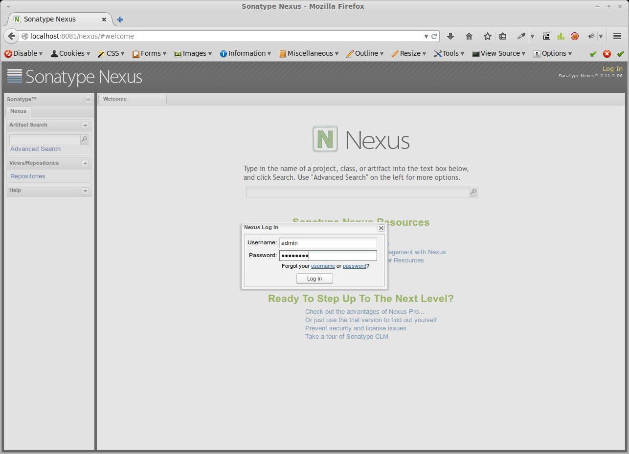 Anmeldung als Administrator in der Nexus Weboberfläche