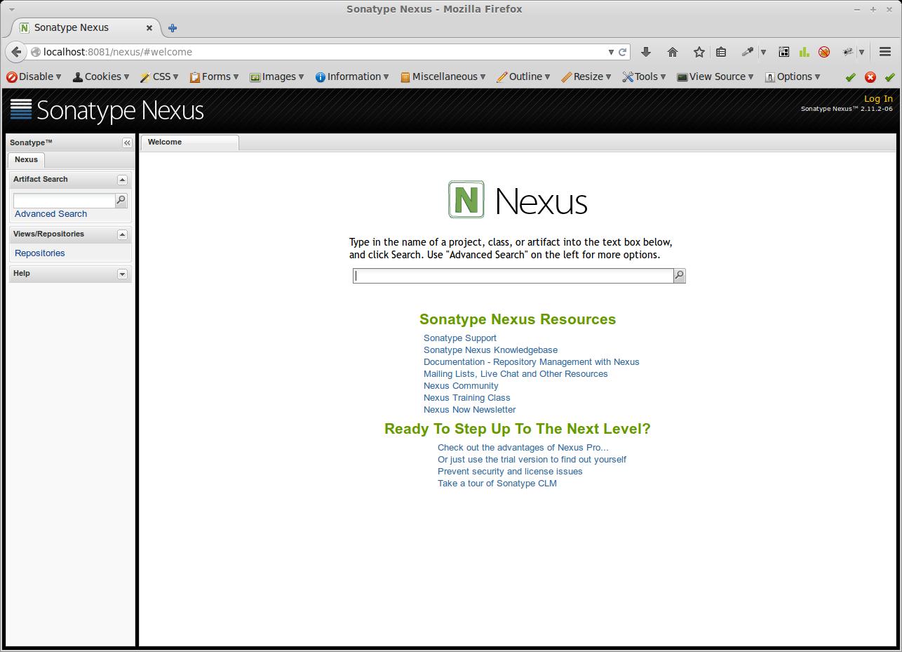 Nexus Weboberfläche nach der Schnellinstallation