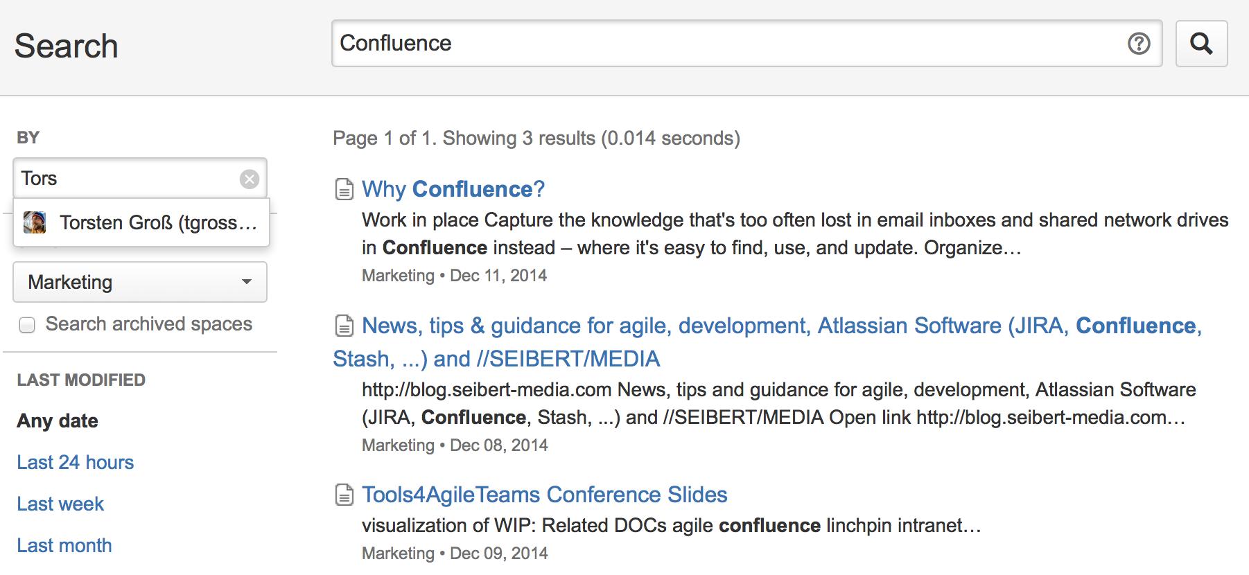Confluence Suche