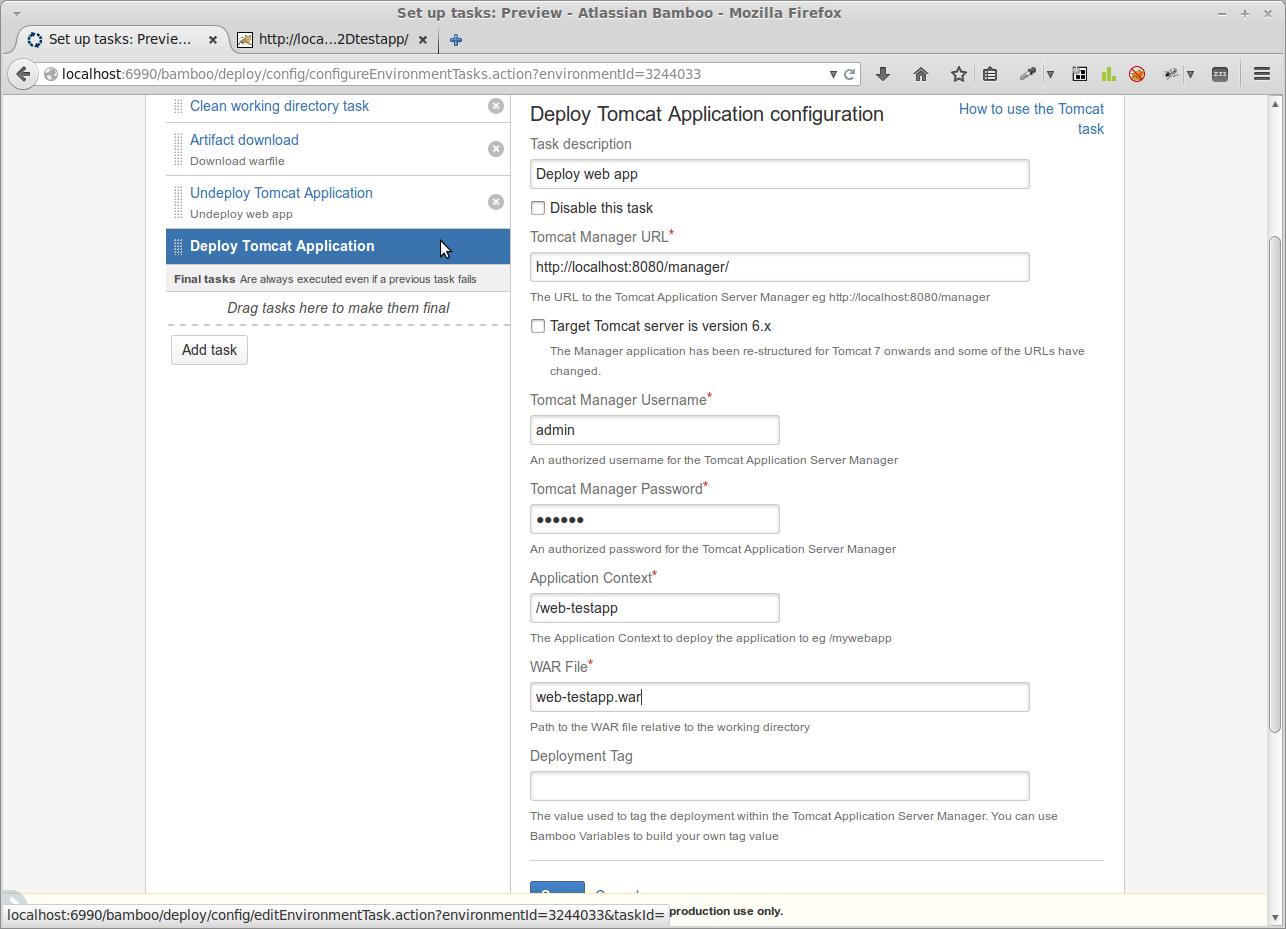 Task zur Installation einer Webanwendung auf einem Tomcat-Server