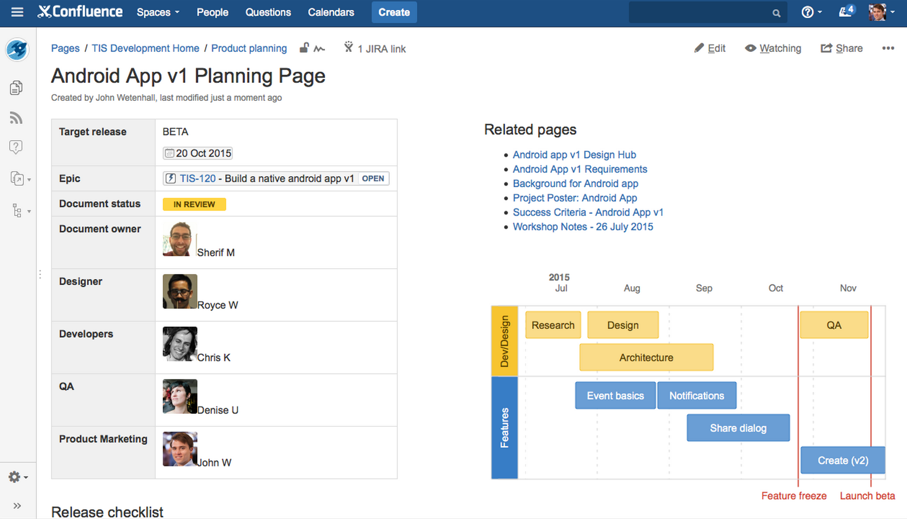 Confluence Release Page full