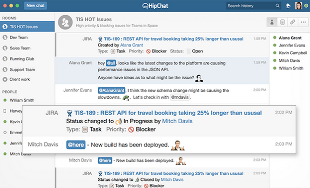 HipChat in an agile team.