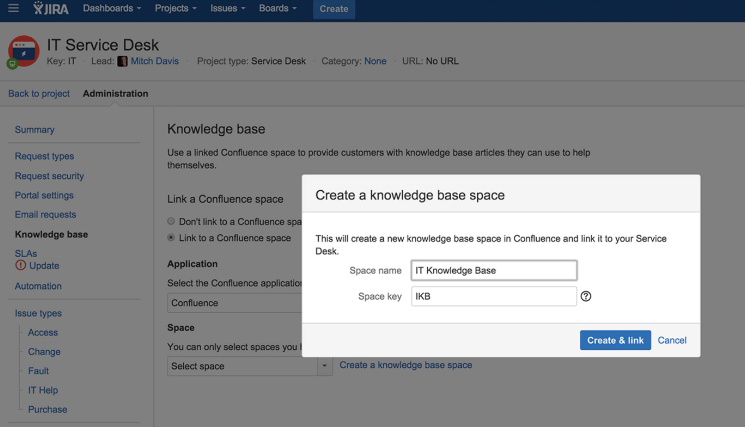 JIRA Service Desk Wissensbasis erstellen
