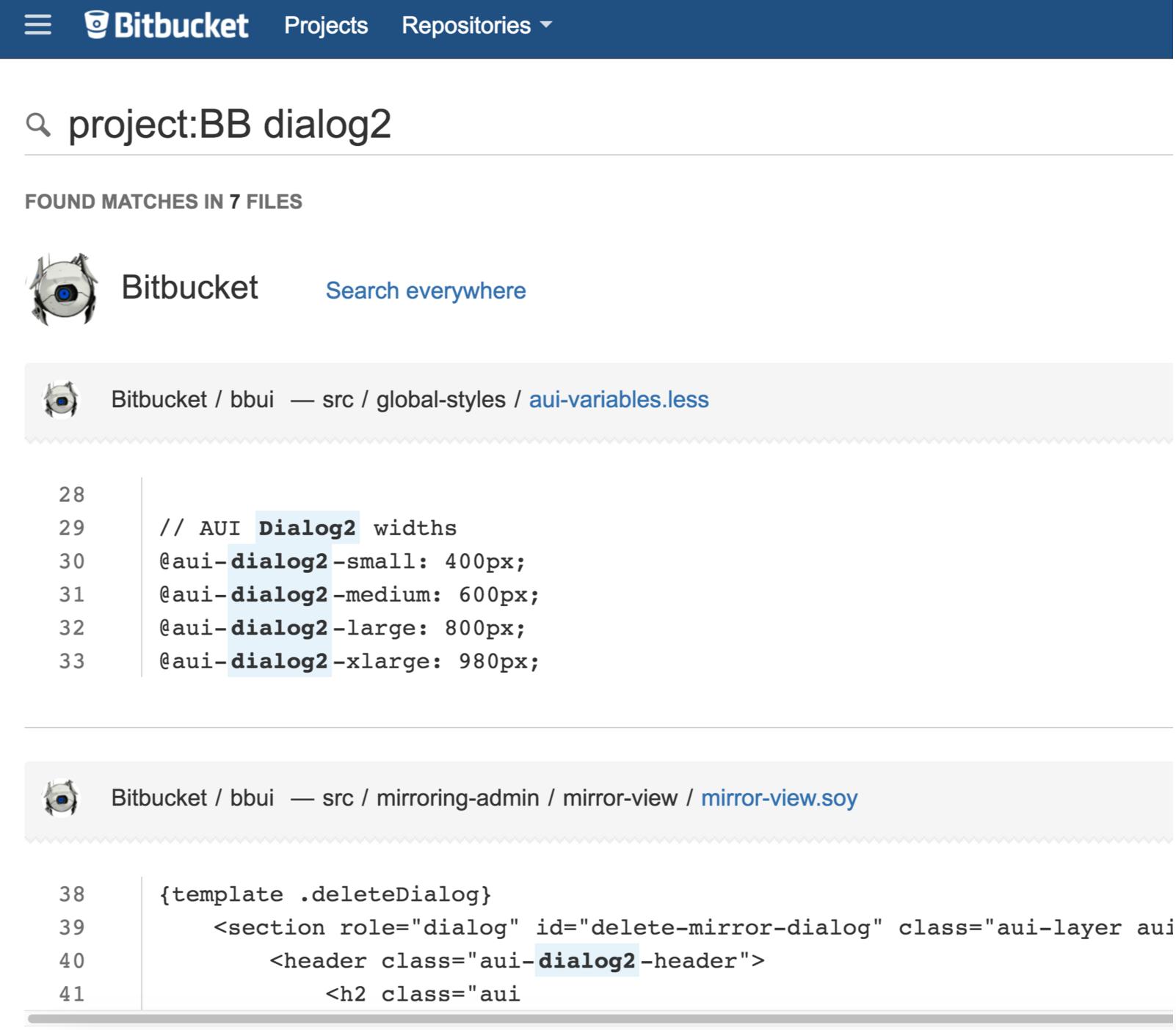 Bitbucket Code-Suche 2