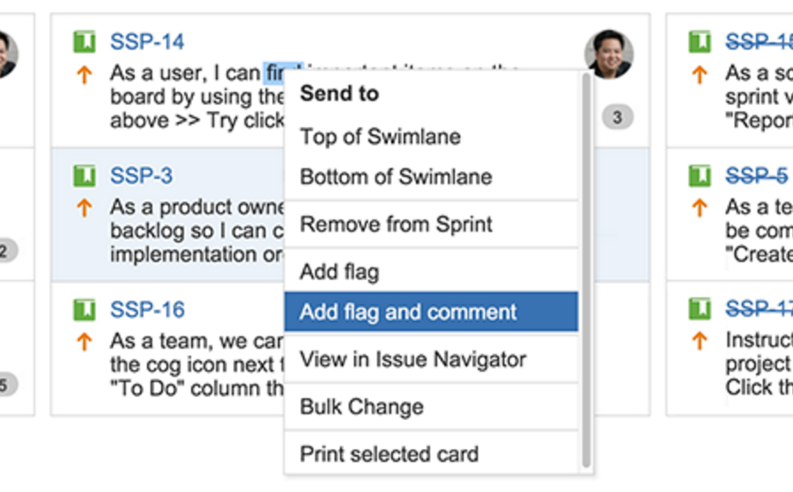 JIRA Flag and Comment