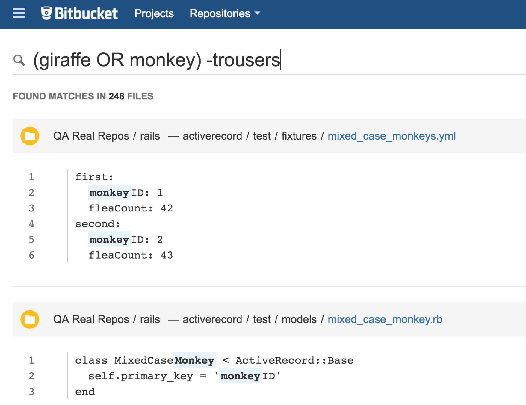 Bitbucket Code-Suche