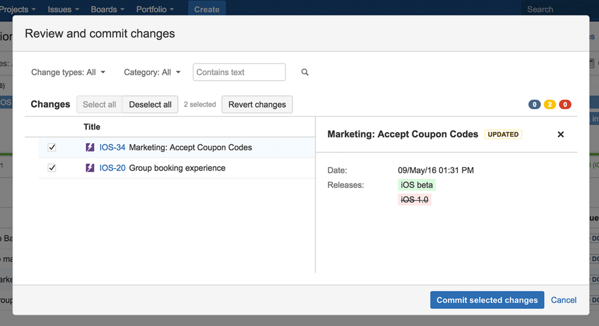 JIRA Portfolio Review Changes