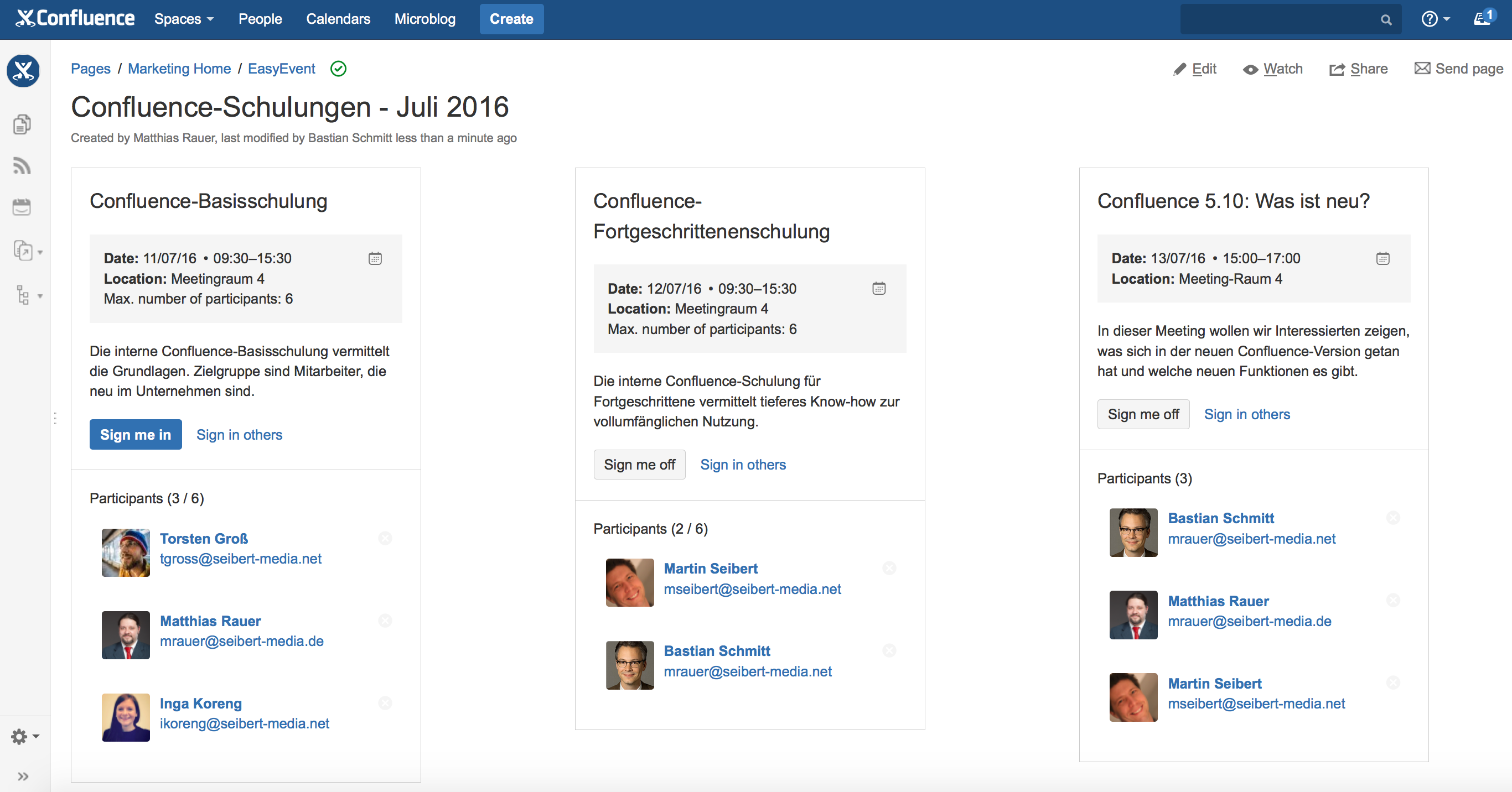 EasyEvents version 1.4 - Multiple events on one Confluence page.