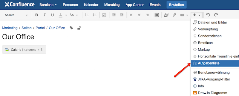 Adding a task list using the toolbar in Confluence