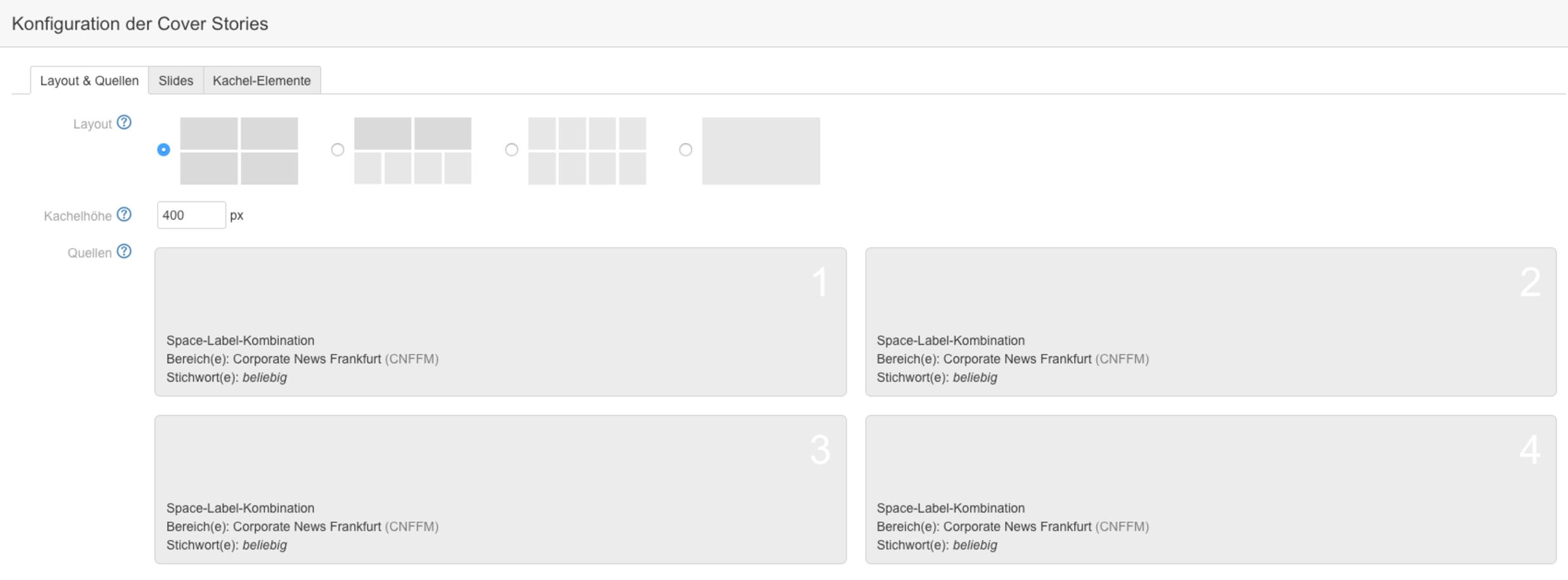 Kachel layout  Enterprise News Bundle 1.5 für Confluence: Facelift für die Cover ...