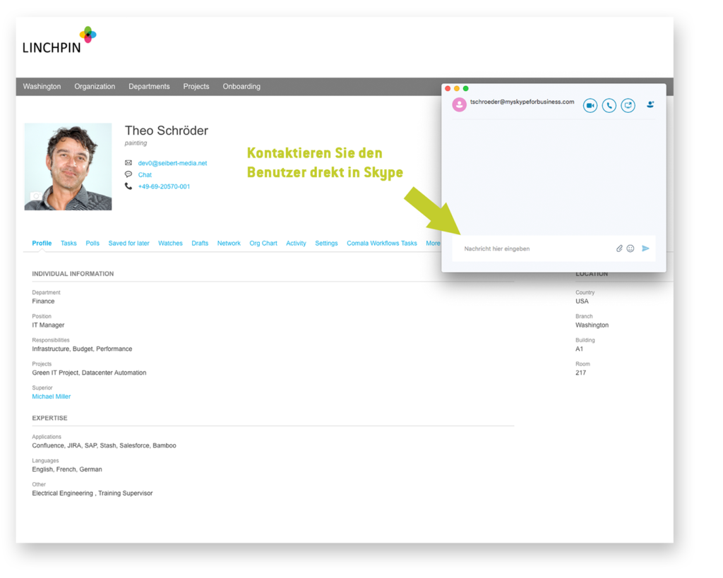 Custom User Profile – Chatten Sie direkt in Skype los
