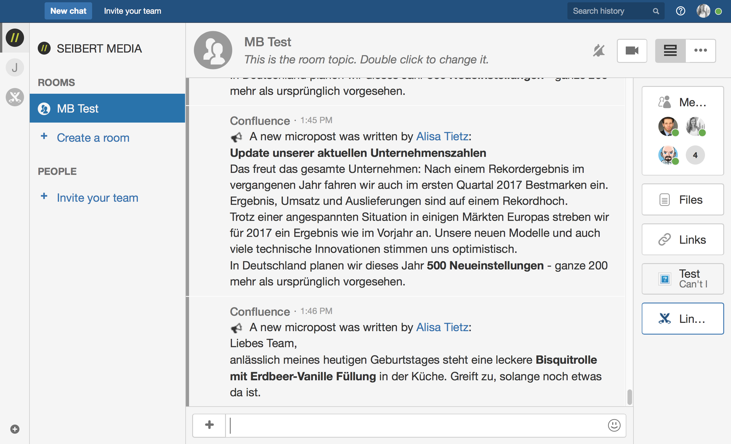 Hipchat notification of a new microblog post