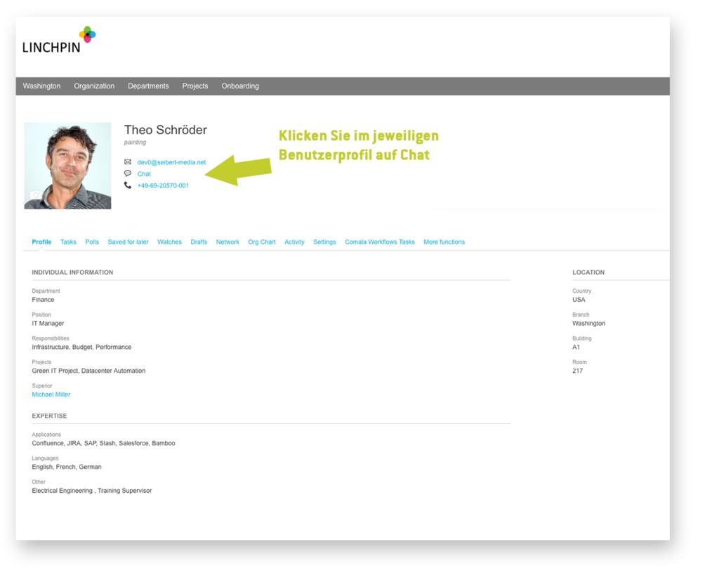 Custom User Profile – klicken Sie im Benutzerprofil auf Chat