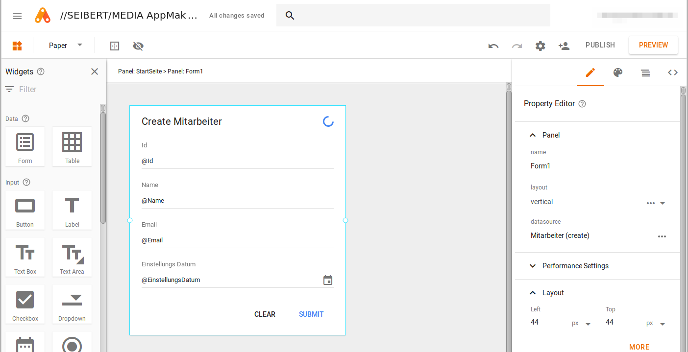 Google App Maker - create a form (step 2)