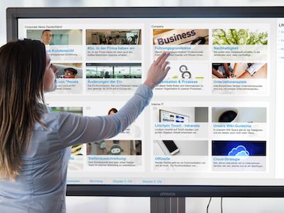 Linchpin Touch öffnet das Intranet über den Computer-Arbeitsplatz hinaus. Die Lösung bringt Inhalte aus dem Confluence-basierten Linchpin-Intranet direkt auf große Touchscreens – für alle Mitarbeiter.