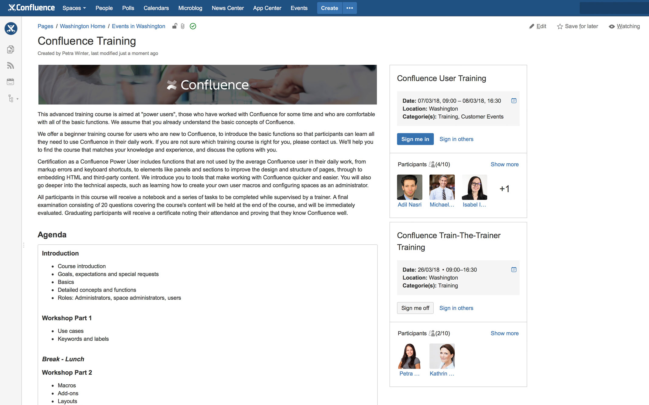 Eine Eventdetailseite mit Easy Events in Confluence