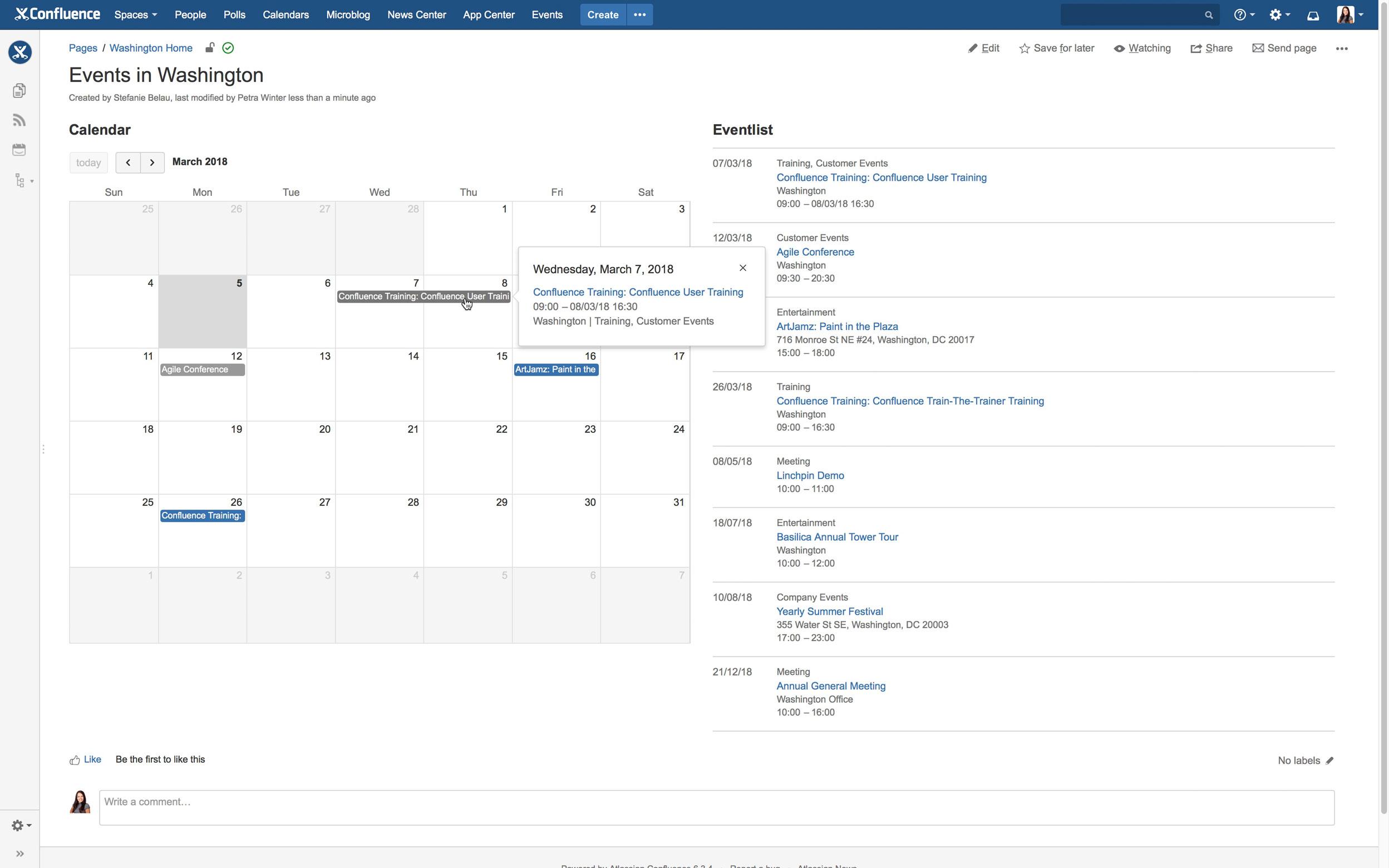 Veranstaltungen in Confluence mit der App Easy Events
