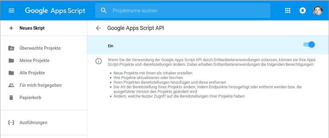 Google Apps Script API aktivieren