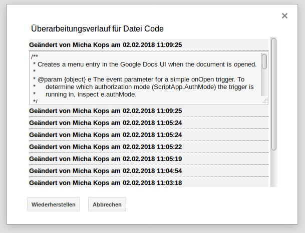 Google Apps Scripts - Änderungshistorie