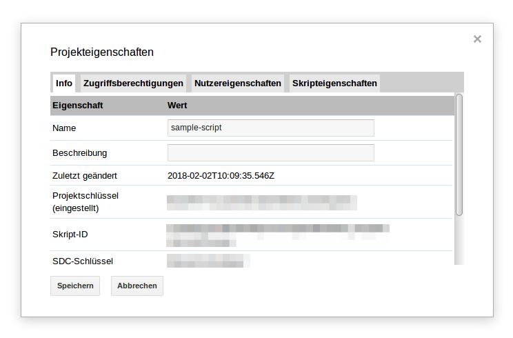 Google App Scripts - Projekteigenschaften