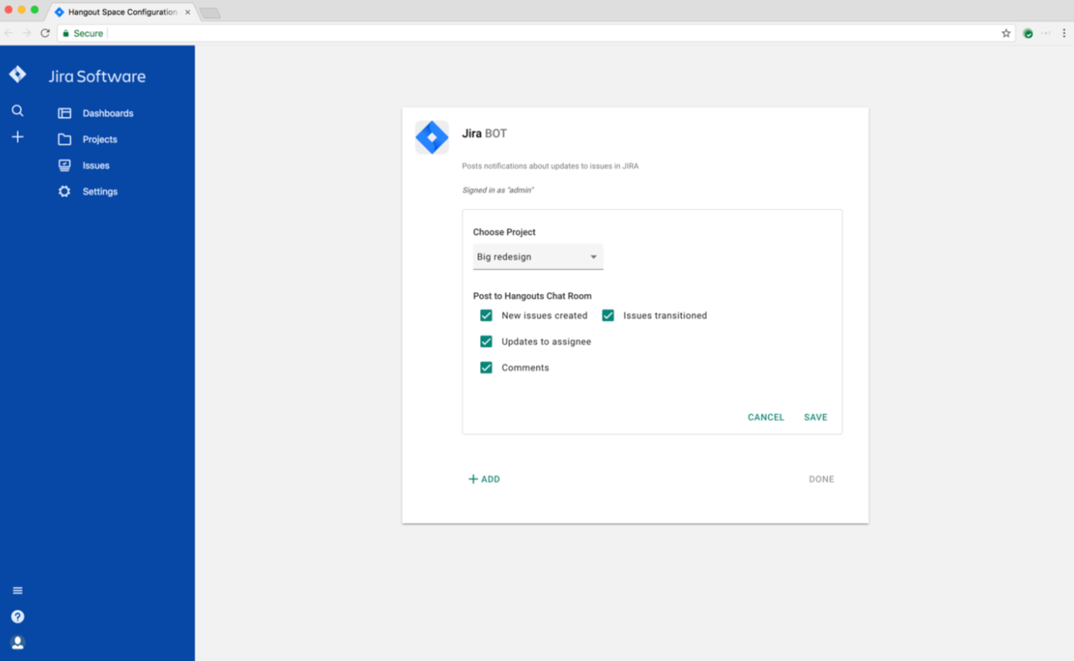 Jira Cloud für Hangouts Chat - Konfiguration