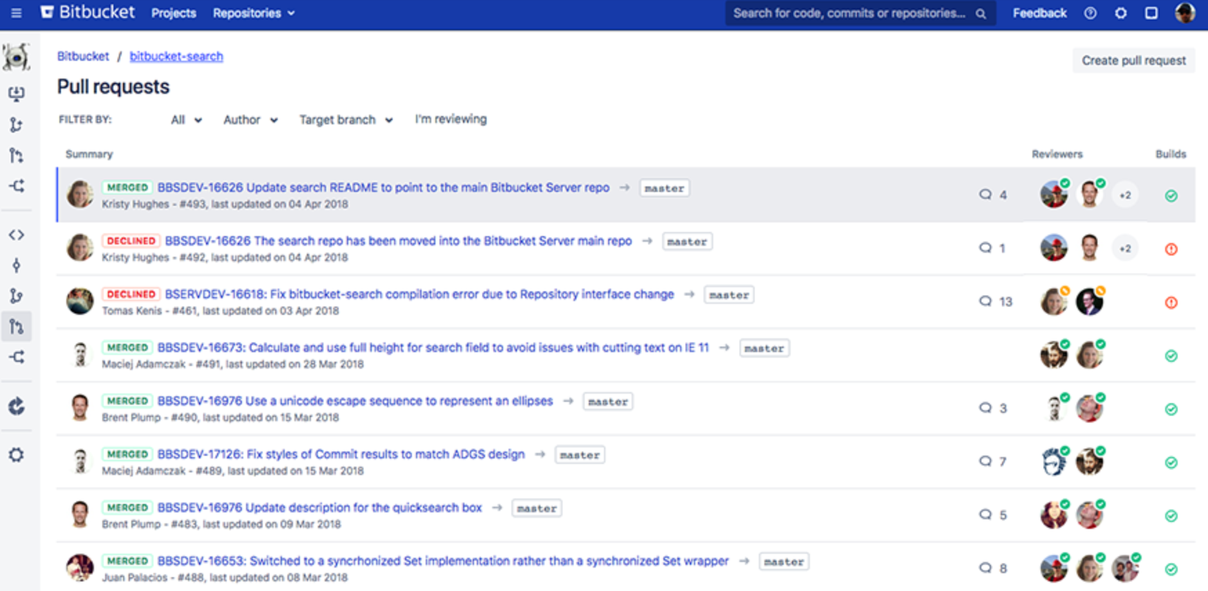 Bitbucket Server neues Design