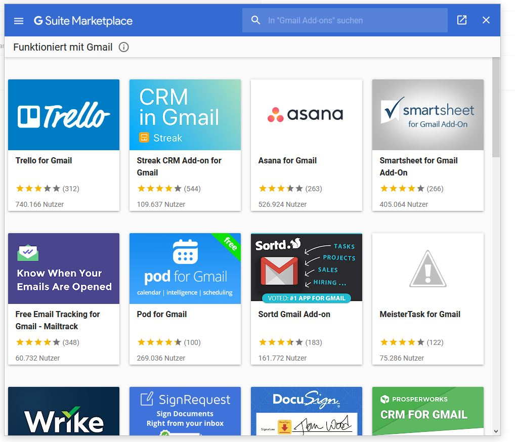 Gmail Add-ons (G Suite Marketplace)