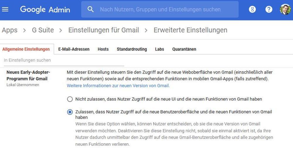 Aktivieren des neuen Gmail in der Admin-Konsole (G Suite)