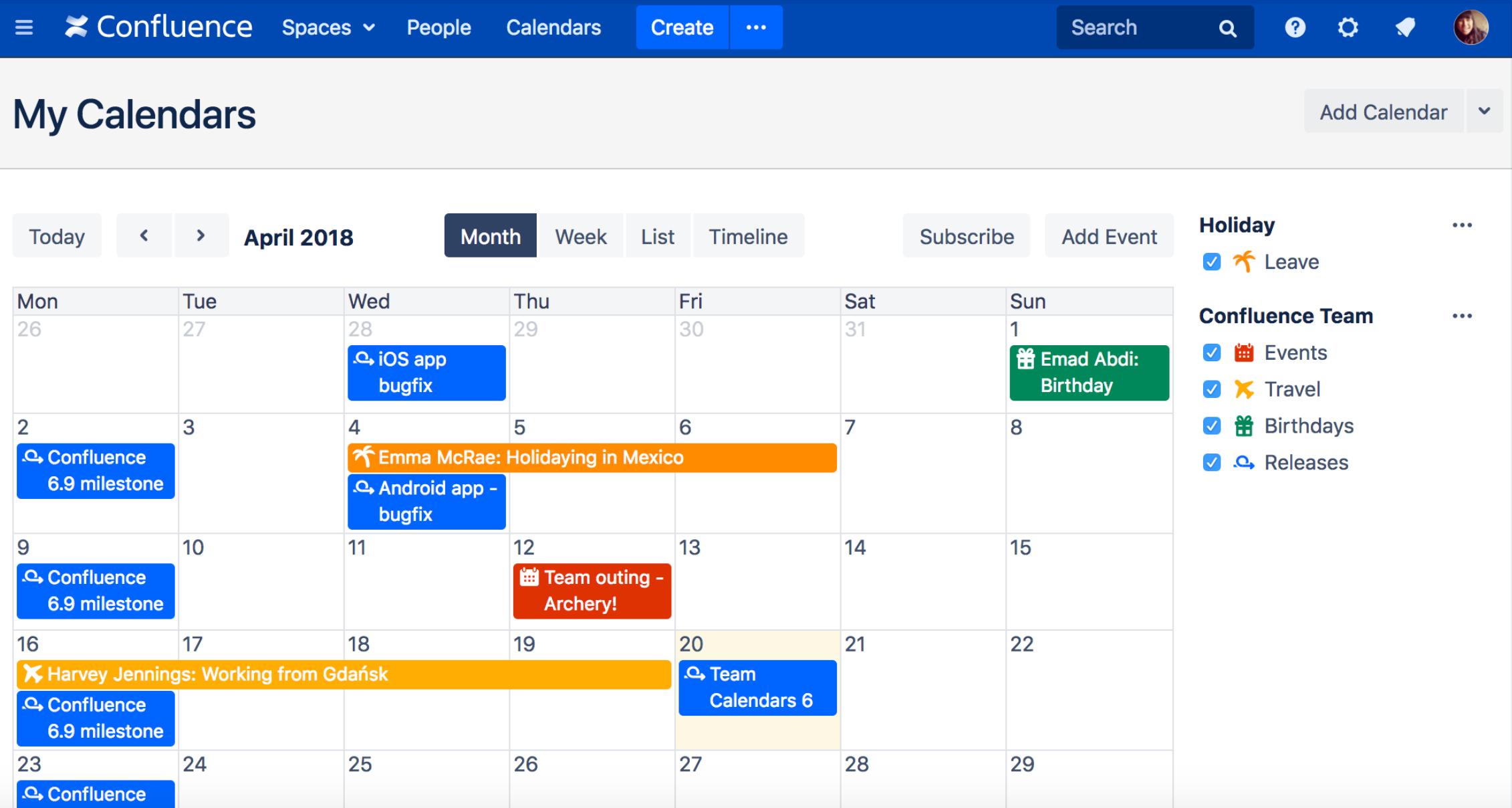 Team Calendars 6 für Confluence
