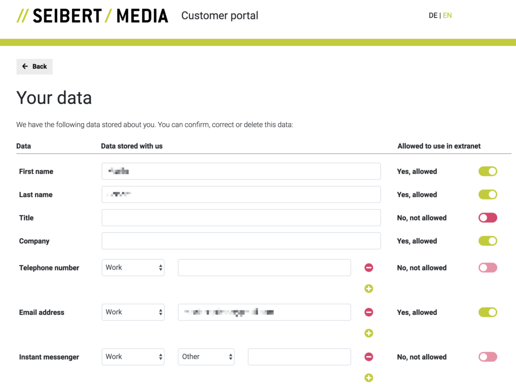 Eigene Daten über das Portal einsehen und anpassen